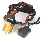 LED 400LM 3-mode Zoom-to-throw Cool White Headlamp - Black + Golden (1 x 18650/2 x 18650)