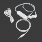 Universal 3.5mm In-Ear Headphones w/ Blue LED Indicator for IPHONE / IPAD / IPOD - White