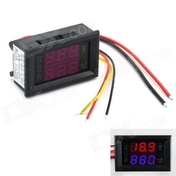 MaiTech 0.28 DC LED Red + Blue Display Digital Ampere-Voltage Meter - Black (DC 0~200V / 1A) genuine leadshine acs606 dc input brushless servo drive with 18 to 60 vdc input voltage and 6a continuous 18a current