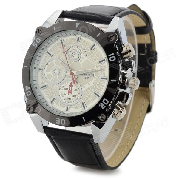 Zhongyi 835 Fashionable Men's PU Wristband Analog Quartz Wrist Watch - Black + White (1 x 626)