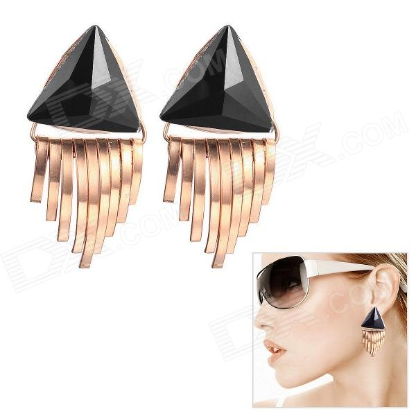 EQute Fashionable Triangular Tassels Earring for Women - Black + Golden painted by a distant hand – mimbres pottery of the american southwest