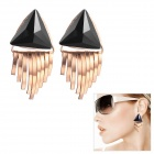 EQute Fashionable Triangular Tassels Earring for Women - Black + Golden