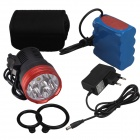 SingFire SF-826 7-LED 5600lm 5-Mode Bike Front Light - Black + Red (8 x 18650)