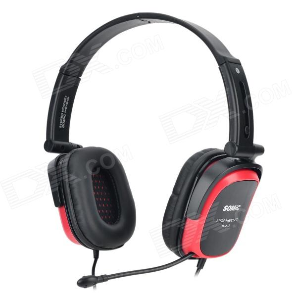 SOMIC PC513 Fashionable Portable Foldable Wired Stereo Headset w/ Mic - Black + Red