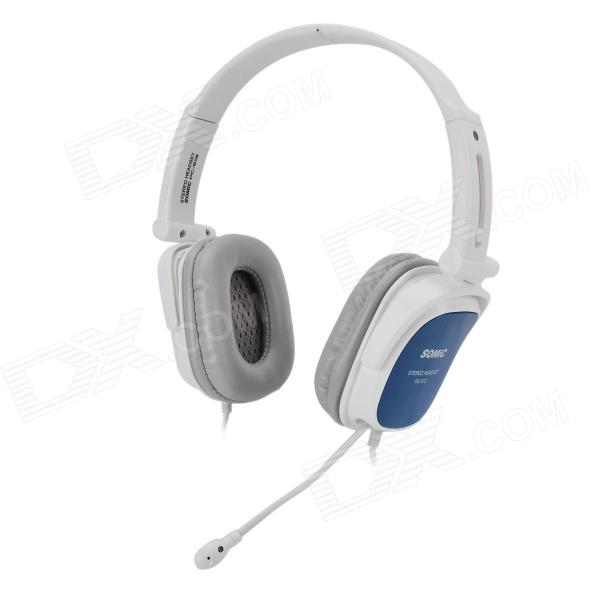 SOMIC PC513 Fashionable Portable Foldable Wired Stereo Headset w/ Mic - White + Blue cute personality cat ears wired headband headset hair head wear led headphone for girls kids