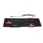 Goldpo GP-668 PS/2 Wired 104-Key Gaming Keyboard + Wired USB Mouse Set - Black +Yellow