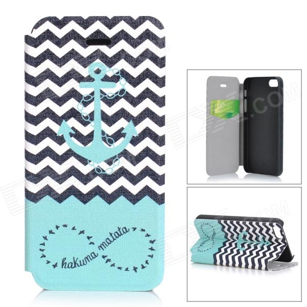Tribe Pattern Protective PU Case w/ Stand / Auto-Sleep for IPHONE 5 - White + Light Blue + Black grid pattern protective pu case w stand for iphone 6 4 7 red white