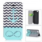 Tribe Pattern Protective PU Case w/ Stand / Auto-Sleep for IPHONE 5 - White + Light Blue + Black