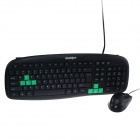 Goldpo GP-768 PS/2 Wired 104-Key Gaming Keyboard + Wired USB Mouse Set - Black + Green