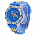 M015 Children's 3D Racing Car Style Analog Quartz Sport Wrist Watch - Blue + White (1 x SR626SW)