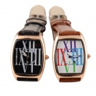 Women's Classic Rose Gold Genuine Leather Band Quartz Wrist Watch - Brown + White (1 x 377)