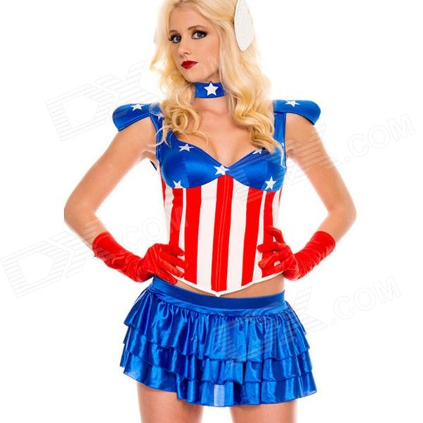 LC887226 Fancy American Dream Classic Costume - Red + Blue + White (Size M)