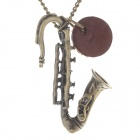 Fashion Saxophone Shape Sweater Necklace - Antique Brass
