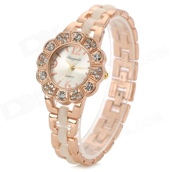 S0930 Women's Diamante Zinc Alloy Wristband Analog Quartz Wrist Watch - Golden (1 x 377) weiqin luxury gold wrist watch for women rhinestone crystal fashion ladies analog quartz watch reloj mujer clock female relogios