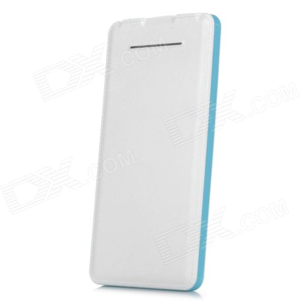 S-What N900 Universal Dual USB 5V 10000mAh Li-ion Polymer Battery Power Bank - White + Light Blue s what universal portable 5v 2000mah li ion battery power bank white