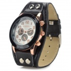 S0875 Children's PU Wristband Analog Quartz Sport Wrist Watch - Black (1 x 377)