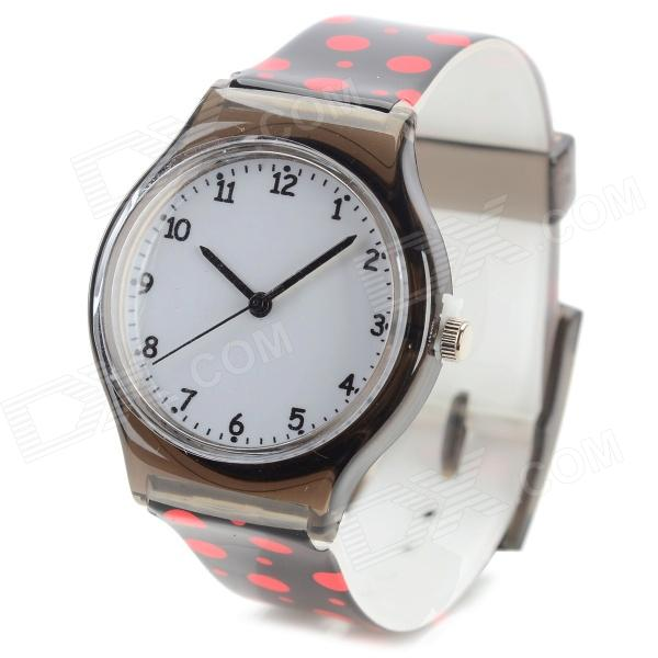 S03 Children's Cute PVC Wristband Analog Quartz Sport Wrist Watch - Black + Red (1 x 377)