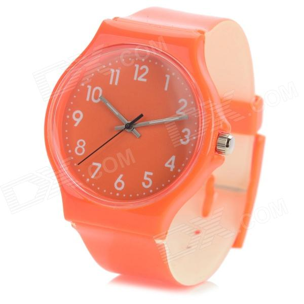 S50G Casual PVC Wristband Analog Quartz Sport Wrist Watch - Orange (1 x SR626SW)