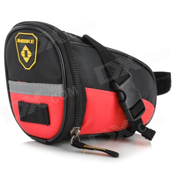 INBIKE B576 Convenient Cycling PU + Oxford Fabric Saddle Bag - Black + Red