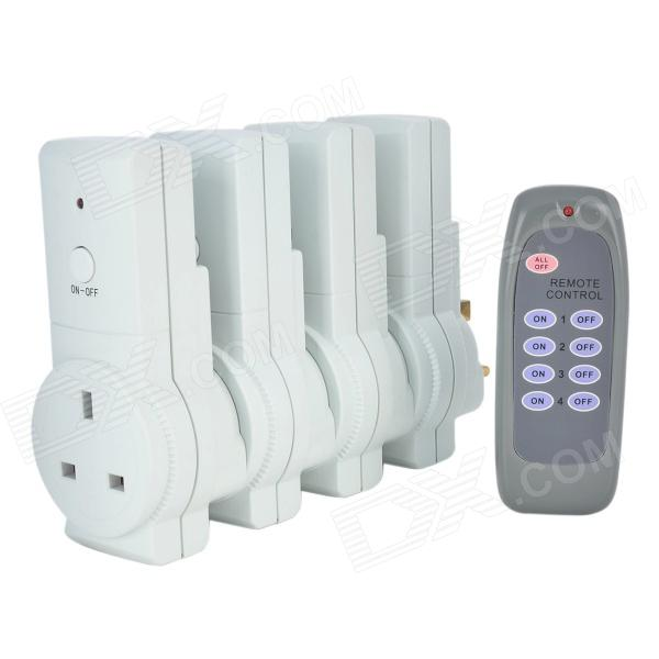 Tai Shen TS-868 4-in-1 230V 13A 2900W UK Plug Remote Controlled Smart Home Sockets Set - White