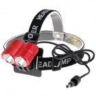 NEW-MT8 2 x CREE XM-L T6 1200lm 4-Mode White Bicycle Light / Headlamp - Red (4 x 18650)