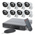 H.VIEW TV-D8C8-CS7011 8-CH Digital Video Recorder + 8-700TVL Cameras w/ 36-IR LED - Black + White