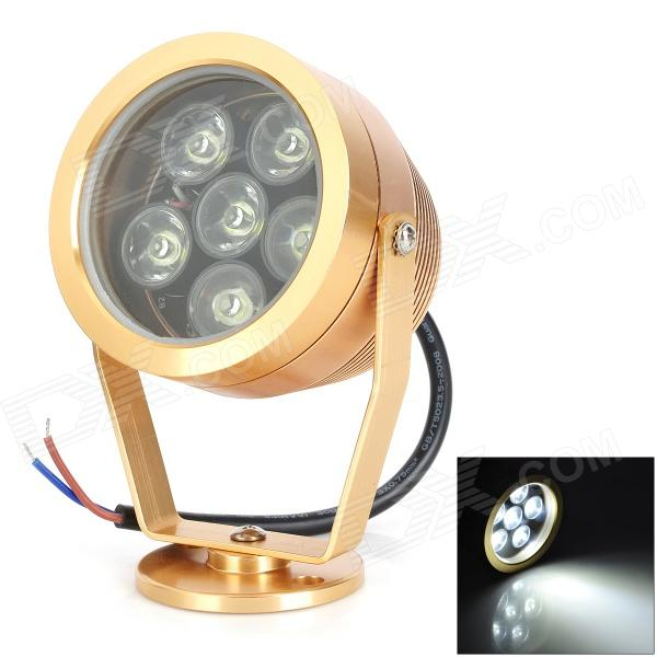 6W 300lm 6500K 6-LED White Underwater Lamp - Golden (DC 12V)