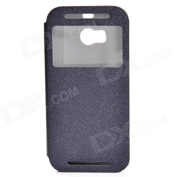 Protective PU Leather + PC Flip Open Case Cover Stand w/ Visual Window for HTC One 2 M8 - Black
