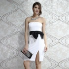 Fashion Bow-knot Side up Strapless Party Dress - White (Size M)