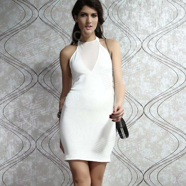 Sexy Halter Slim Nightclub Dress for Women - White