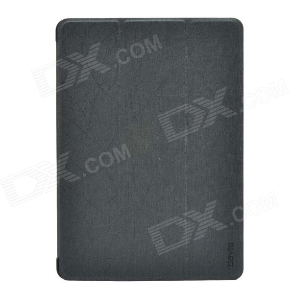 Devia Pine Needle Pattern 3-Fold Protective PU Leather Case Cover w/ Stand for IPAD AIR - Black