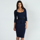 LC861636 Elegant Women's Three Quarter Sleeve Belted Peplum Dress - Dark Blue (Size L)