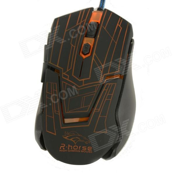Rhorse 800/1600/2400/3200dpi Colorful Glare USB Engines Gaming Mouse - Orange + Black
