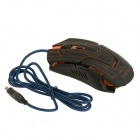 Rhorse 800/1600/2400/3200 dpi fargerike gjenskinn USB motorer Gaming mus - Orange + Black
