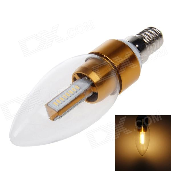 E14 3W 165lm 3000K 24 x SMD 3014 LED Warm White Light Energy Saving Tip Bulb - Golden + Transparent