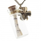 Four-Leaf Clover & Drift Bottle Style Necklace - Bronze + Transparent
