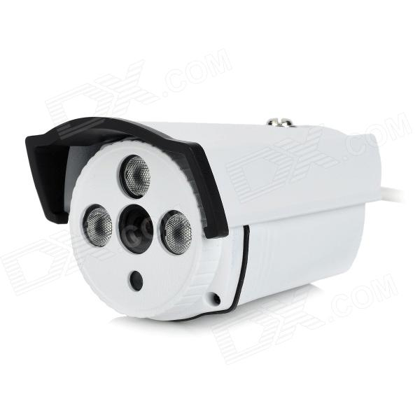 JIN JN-3355FM Waterproof 1/4 CMOS CCTV Surveillance Camera w/ 3-IR LED / IR-Cut - White weipus wps gl3060h 3 6mm 1 4 cmos 800tvl surveillance ir dome camera w 24 ir led white