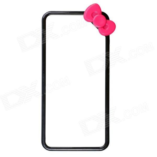 Fashionable Protective PC Bumper Frame Case w/ Bowknot for IPHONE 5 / 5S - Black + Deep Pink s what protective metal bumper frame for iphone 5 5s deep pink