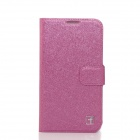 Flower Show Protective PU + PC Case for Samsung Galaxy S4 / i9500 - Deep Pink