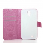 Blomster Vis beskyttende PU + PC tilfelle for Samsung Galaxy S4 / i9500 - dype rosa