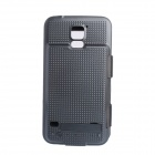 5V 3500mAh External Power Back Battery Case w/ PU Front Cover for Samsung Galaxy S5 - Black