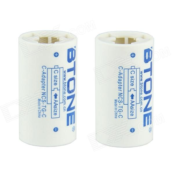BTONE AA to Type-C Battery Adapter Converters - White+Sky Blue (2PCS)