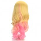 Fashionable Party Gradient Long Curly Hair Wig - Beige + Pink + Multi-Colored