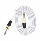 Nylon tejido 3.5mm macho a macho Cable de Audio - blanco (102cm)