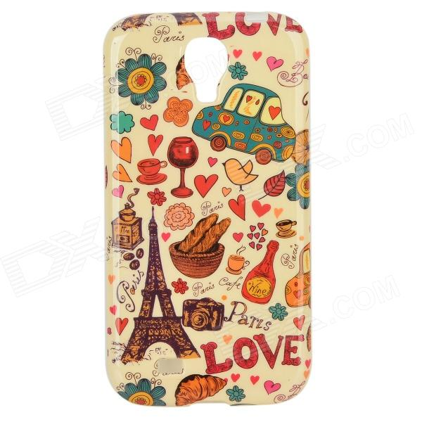 Cartoon Eiffel Tower + Car Pattern Protective TPU Back Case for Samsung Galaxy S4 i9500 protective cute spots pattern back case for samsung galaxy s4 i9500 multicolored