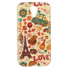 Cartoon Eiffel Tower + Car Pattern Protective TPU Back Case for Samsung Galaxy S4 i9500