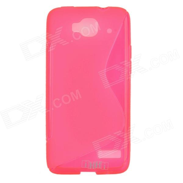 цена на IKKI S Shaped Protective TPU Back Case for Alcatel One Touch Idol Mini / OT-6012D - Pink