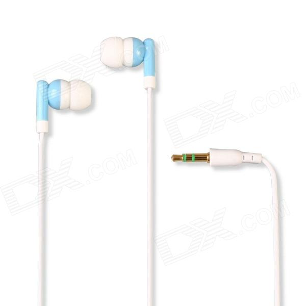 Universal Bead Type 3.5mm In-Ear Stereo Earphone w/ Dust Plug for Cellphone, MP3, PC - Blue + White