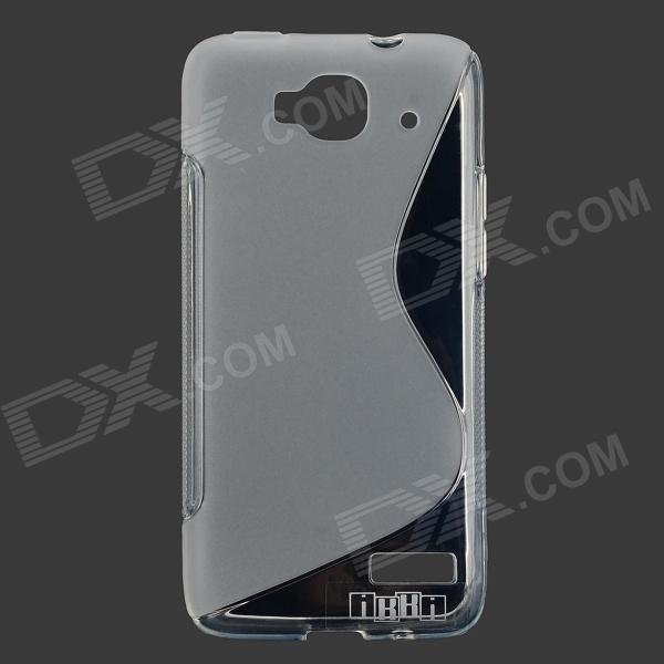 цена на IKKI S Shaped TPU Back Case for Alcatel One Touch Idol Mini / OT-6012D - Translucent White