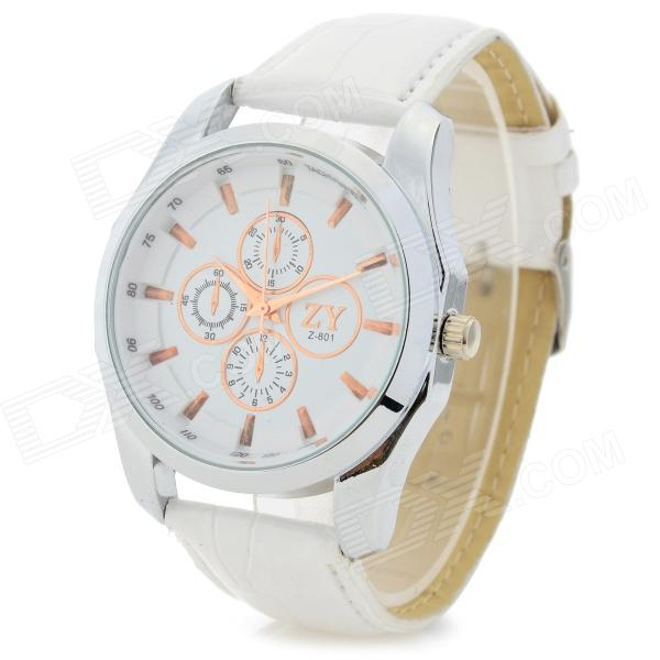 ZhongYi 801 PU Leather Band 4-Dial Decoration Analog Quartz Wrist Watch - White + Silver
